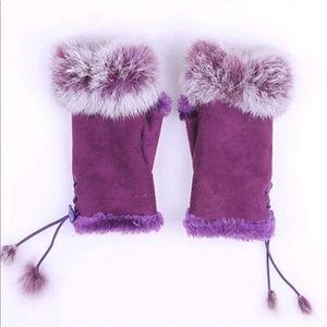 Purple Fingerless Faux Fur Gloves Mittens